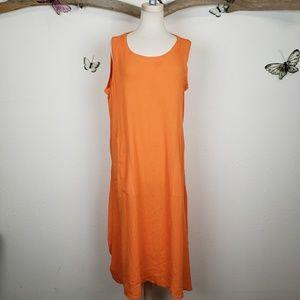 Kaktus side tie scrunchy gauze dress orange